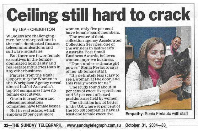 Ceiling still hard to crack article - Telegraph, October 31, 2004