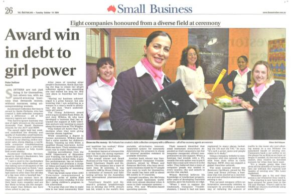Award Win in Debt To Girl Power - The Australian 2004
